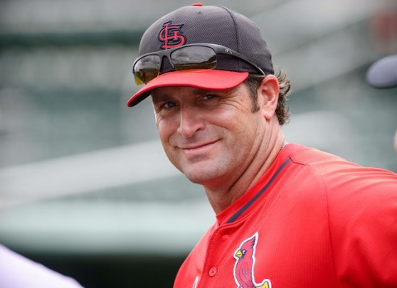 Mar 17, 2014; Fort Myers, FL, USA; St. Louis Cardinals manager Mike Matheny (22) watches his team take batting practice before the game between the Boston Red Sox and the Cardinals at JetBlue Park. Mandatory Credit: Jerome Miron-USA TODAY Sports